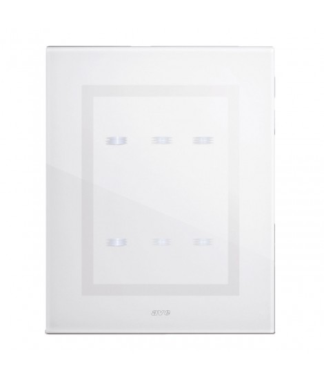WHITE GLASS TOUCH PLATE 3+3COM